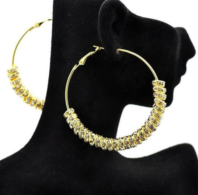 Free shipping 2pcs(1pair)/lot, Wholesale Gold Plated Basketball wives earring, Rhinstone Spacer Beads Wives Hoop Bling Earrings(China (Mainland))