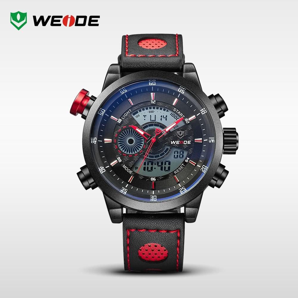 WEIDE Genuine Leather Watches Men Quartz Digital Fashion Military Casual Sports Watch Luxury Brand Relogio Outdoor Wristwatches(China (Mainland))
