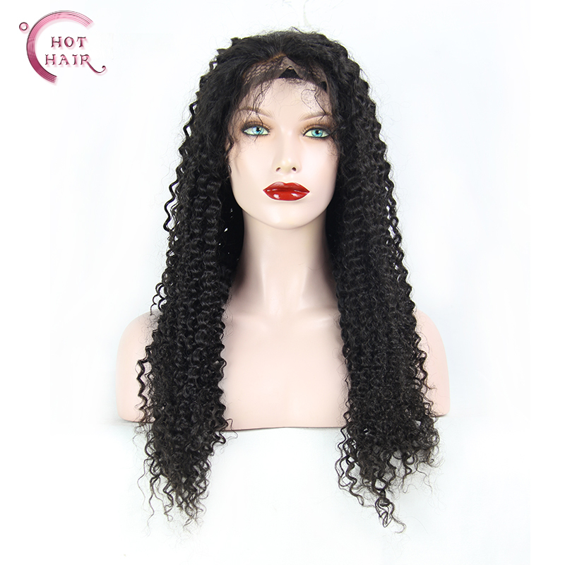Mongolian kinky curly lace wig for black women full lace wig / lace front wig with bleached knots human hair wigs(China (Mainland))