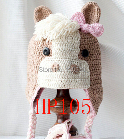 Free Crochet Patterns Childrens Animal Hats : Free Shipping Baby Horse Pattern Crochet Animal Knitted ...