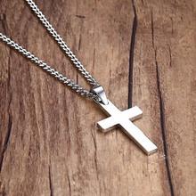 Мода Крест Распятие Иисуса Шт Кулон и Ожерелье Из Нержавеющей Стали Золото Серебро Цвет Женщины Мужчины Цепи Ювелирные Изделия Христианской Подарки(China (Mainland))