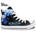 Wen Hand Painted Anime Shoes Custom Design Naruto Kakashi Lee High Top Men Women s Canvas