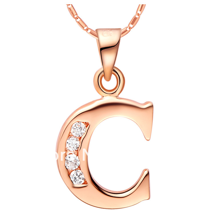 Fashion necklace rose gold platinum 18k c of 26 letter for Letter c gold pendant