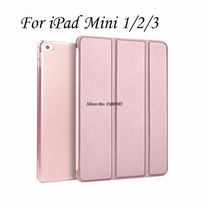 New Slim Fit Smart Case For iPad Mini 2/3 With Quality PU Leather Trifold Stand Back Cover For iPadMini Coque Funda Rose Gold(China (Mainland))