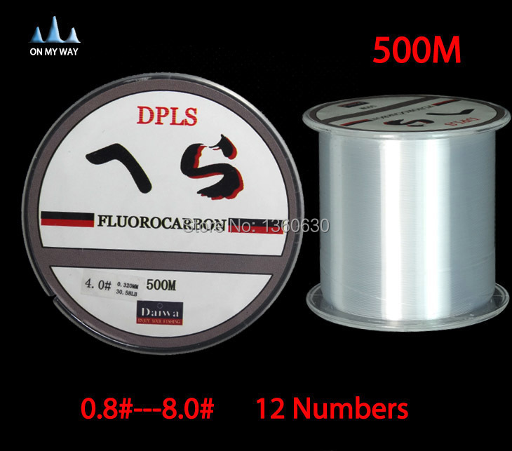 2015 new Available 500M Fluorocarbon Fishing Line 0.148-0.467mm  7-42LB Carbon Fiber Leader Line brand fly fishing line pesca(China (Mainland))