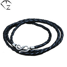 Buy Genuine Leather Chain 925 Sterling Silver Necklace Women Men Jewelry Accessories Black Thai S925 Solid Silver Jewelry Making for $6.69 in AliExpress store