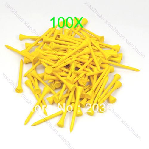 100pcs 70mm Brand New Golf Ball Wood Tee Tees Yellow Free Shipping(China (Mainland))