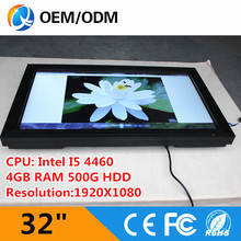 Black 32 inch all in one pc touch screen computer 1920X1080 /4GB 500G HDD (QY-32C-H5AA)(China (Mainland))