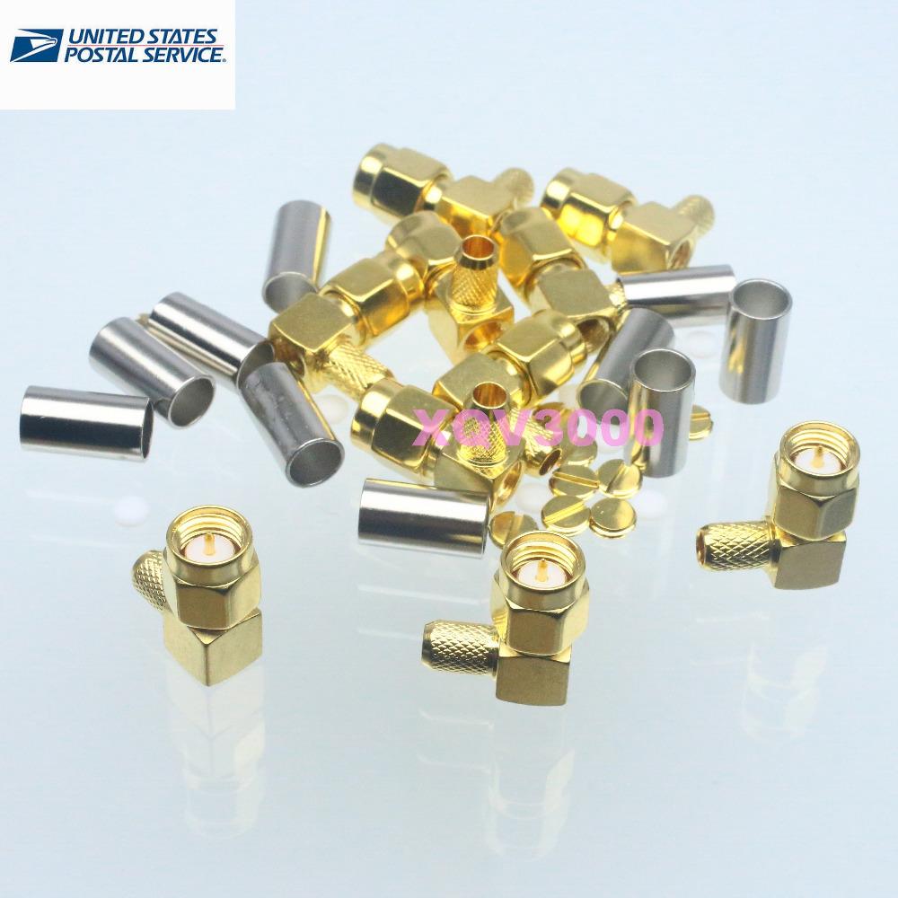 10pcs SMA male plug right angle crimp RG58 RG142 LMR195 RG400 RF connector(China (Mainland))