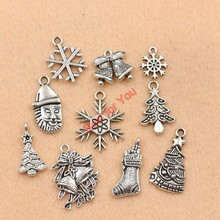 Buy Mixed Tibetan Silver Plated Christmas Santa Claus Boot Snowflake Charms Pendants Jewelry Making Accessories Diy Jewelry Findings for $1.29 in AliExpress store