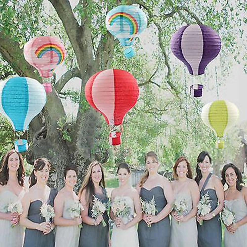 12'' Rainbow Hot Air Balloon Paper Lantern Birthday Party Wedding Decor Colour(China (Mainland))