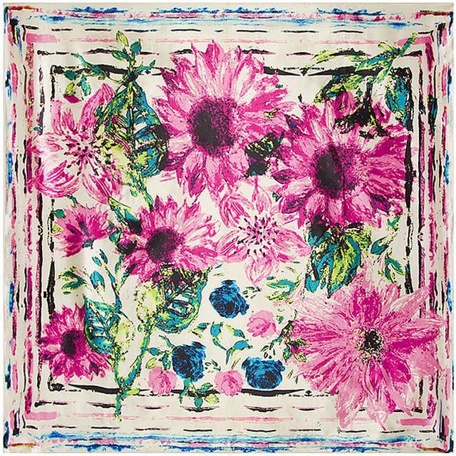 90 см * 90 см европейский масло подсолнечника и хризантемы цветочный печатный фирменное женщины шелковый атлас большой косынка