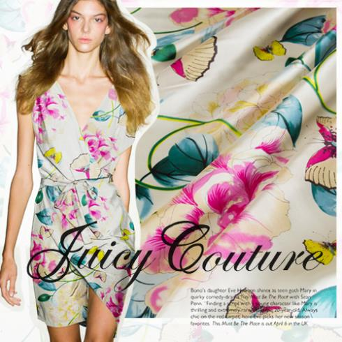 Heavy crepe satin silk fabrics imported digital inkjet printing cheongsam dress fabric flowers Splendor - Sanni Silk store