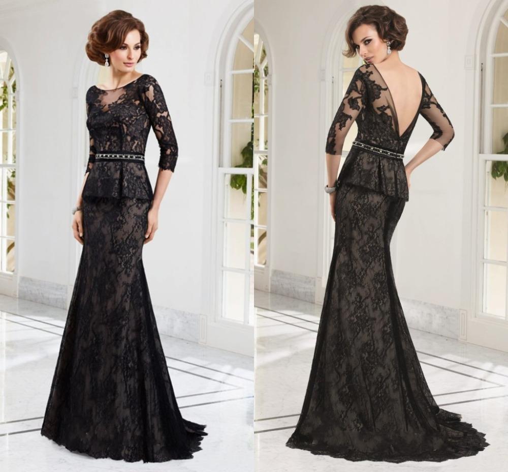 Elegant Black Mother Of The Bride Lace Dresses 2015 Long Sleeve Wedding Guest Dresses Vestidos