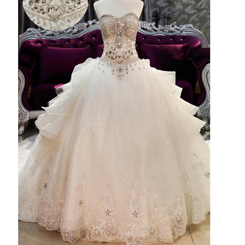 Wedding Dress Lace Up Kit : Princess ball gown wedding dresses lace crystal