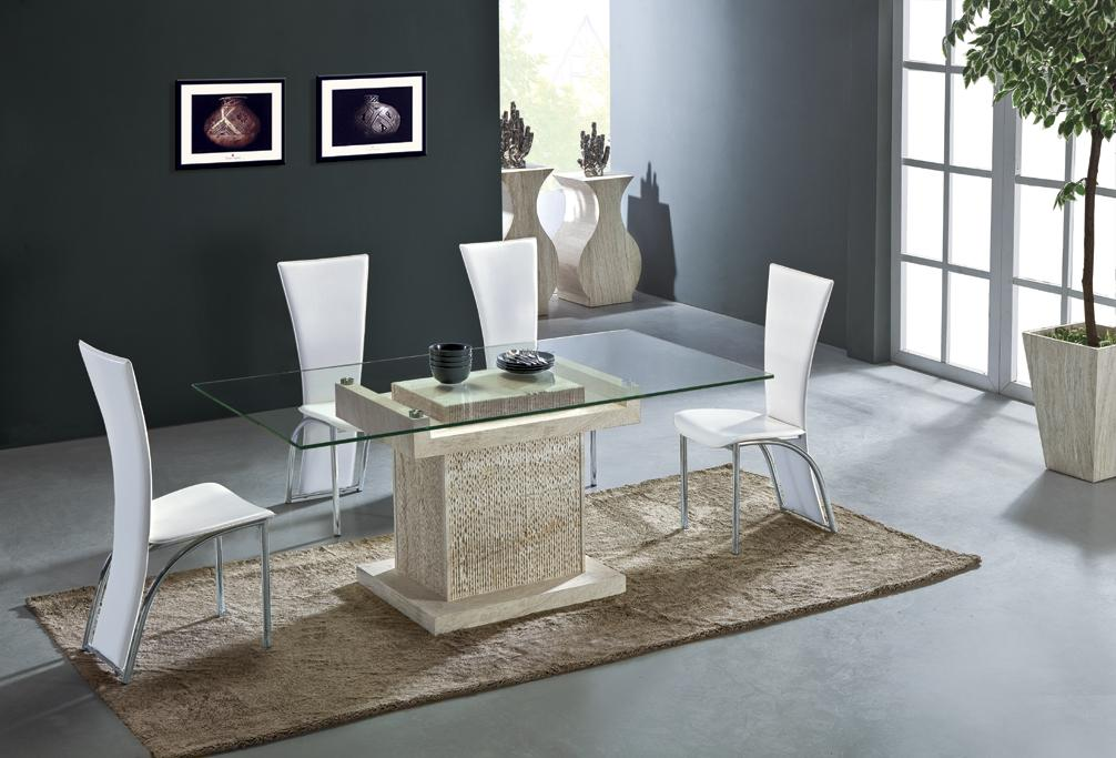 Travertine Dining Table Set Luxury High Quality Natural Stone Marble Dining F
