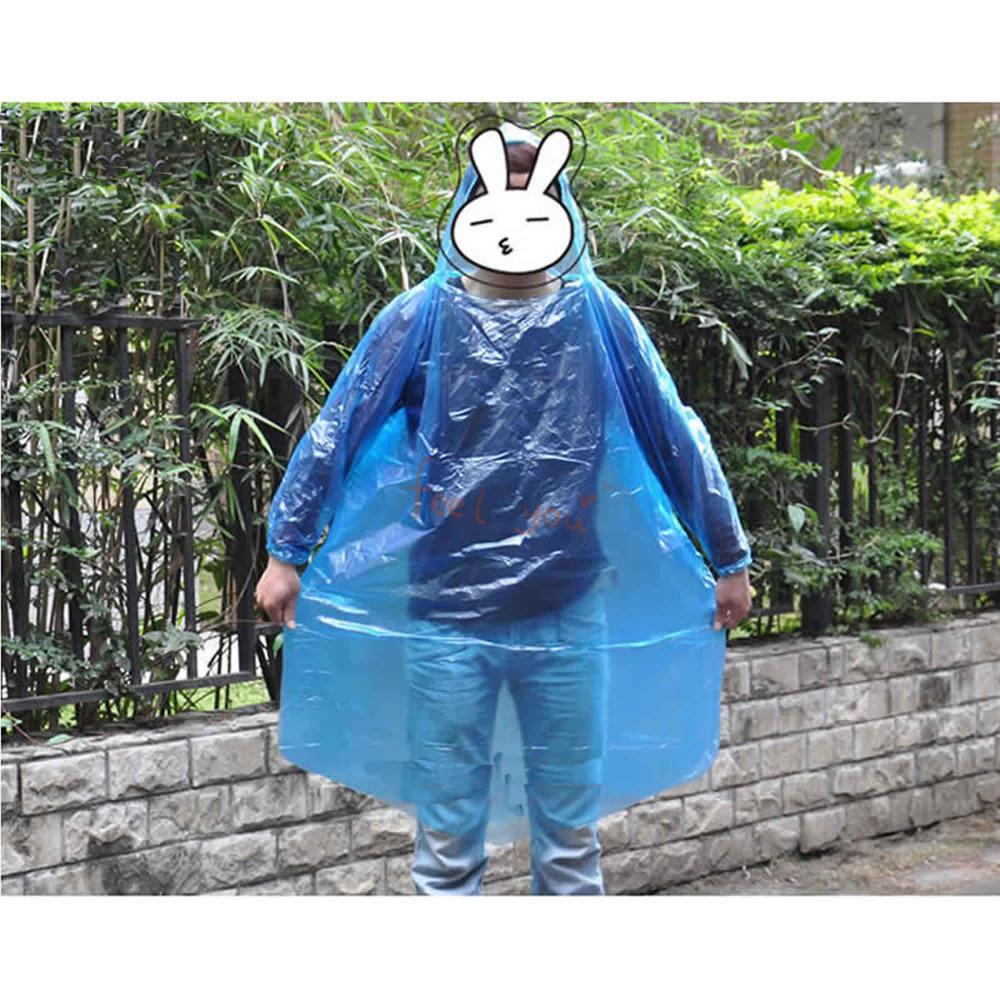 2 X одноразовые взрослых с капюшоном водонепроницаемый плащ плащ аварийного пончо