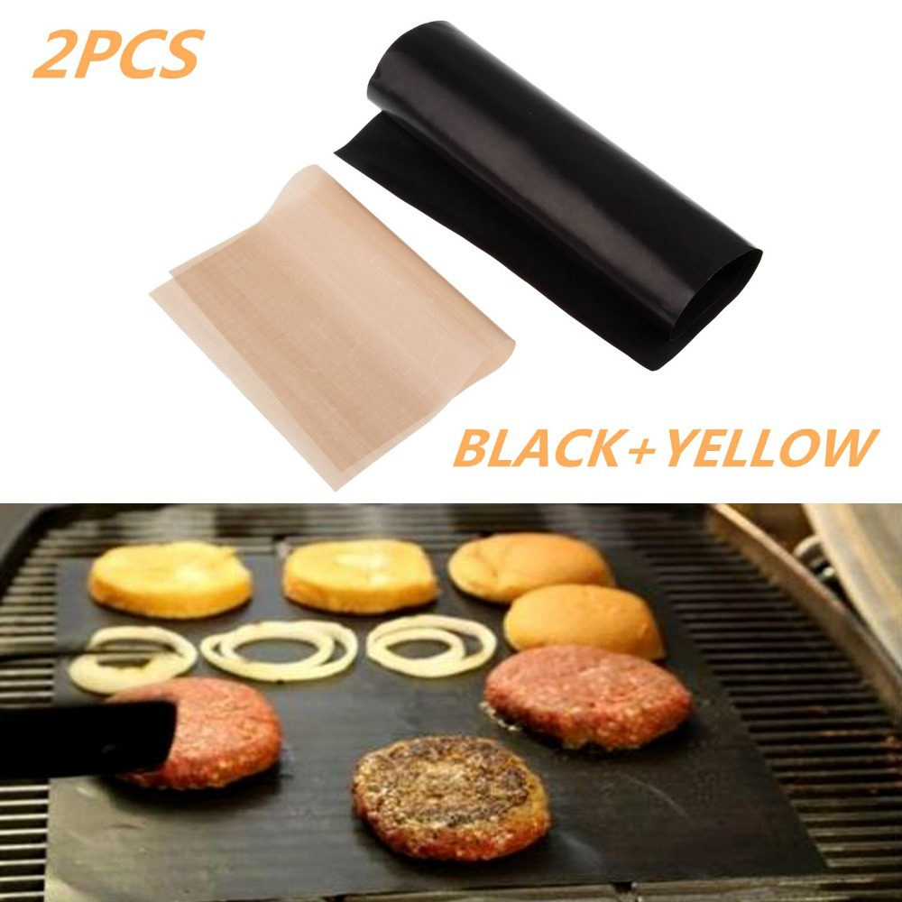 Special Offer 2Pcs Teflon BBQ Grill Mats Meshes For Churrasco Barbecue Grill BBQ Tools Sheet Cooking and Baking(China (Mainland))