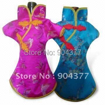 Elegant Chinese style Cloth Christmas Wine Bottle Cover Bags Silk brocade Dinner Party table Decoration 10 pcs/lot mix color(China (Mainland))