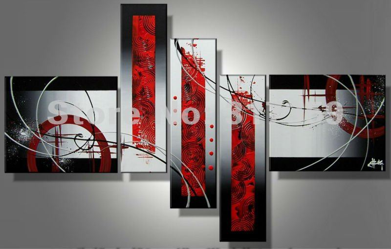 Free shipping abstract canvas art 5pc/set red Point, line and plane oil paintings  No framed acrylic paintings art