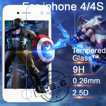 0.26mm 9H Explosion Proof Anti scratch LCD Tempered Glass Film For Apple iphone 4/4s Screen Protector Film