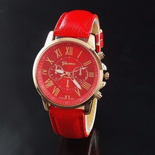 New 2015 Fashion Women Dress Watch Geneva Leather Analog Watch Women Ladies Watches Quartz Casual Wrist