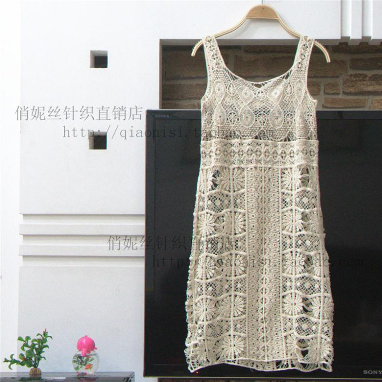 2015 New Women Fasion Cute Embroidery Hollow out Lace Dress Spring Summer Knitting Crochet All-match Cutout Floral Sundress(China (Mainland))