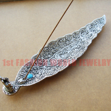 Metal Incense Holder Leaf Shaped with A Fortune Elephant,Indian Incense Holder 210*47*25mm Free Shipping(China (Mainland))