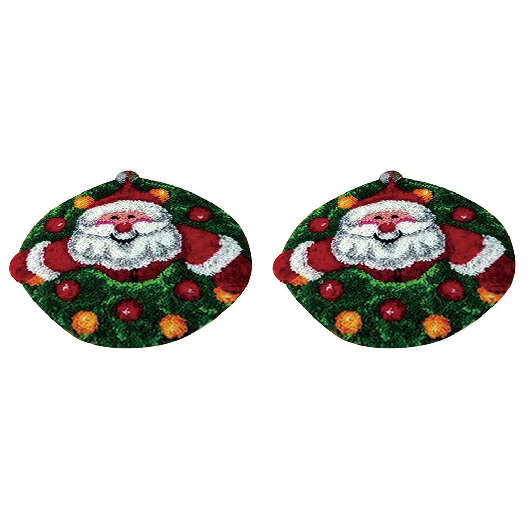 2 Set Santa Claus Latch Hook Kits for Adults Beginners DIY Carpet Cushion Embroidery Craft