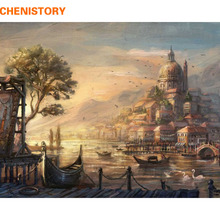 CHENISTORY Urban Landscape Painting By Numbers Kits Drawing Painting By Numbers Acrylic Paint On Canvas For Home Decor Artwork(China (Mainland))