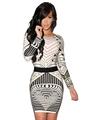 2016 Autumn Winter Women Sexy Backless Tribal Print Long Sleeve Vintage Slim Mini Dress Bodycon Clubwear