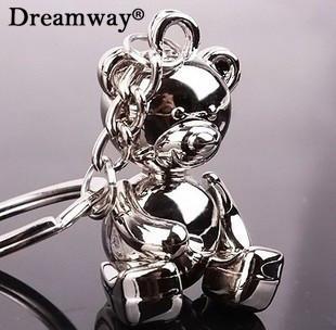 Металл медведь брелки прекрасный сплав цинка плюшевых животных брелок для девочки брелоки женщины сумочка шарм аксессуары Dreamway