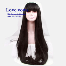 synthetic lace front wig Natural look overlength straight black asian hair level bang match easily be dye or braid QL0007