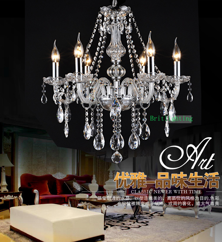 Led home chandeliers modern crystal chandelier dining room for Modern crystal chandelier for dining room