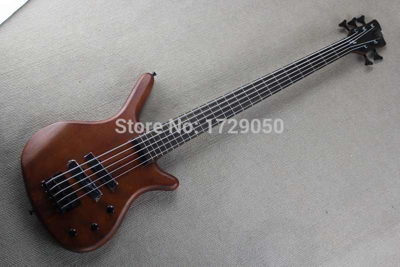 Free shipping Real photos Top quality one piece set neck And body W 5 String natural wood Dark brown electric bass guitar 1111(China (Mainland))