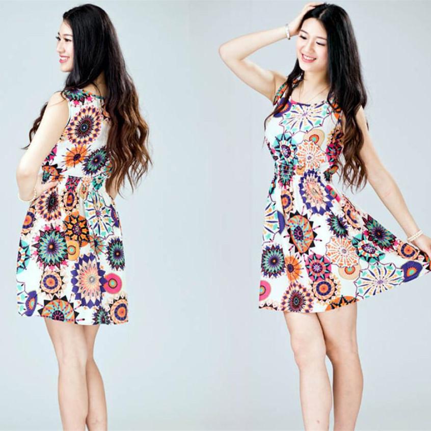Selljimshop 1PC Women Casual Beach Mini Dress Summer Sleeveless Sunflower Print Patten Lady Clothing - Jimshop Store store