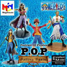 Megahouse P.O.P Sailing Again Excellent Model Figurine Japanese Anime One Piece Luffy Law Zoro Mihawk POP Action Figure Figures