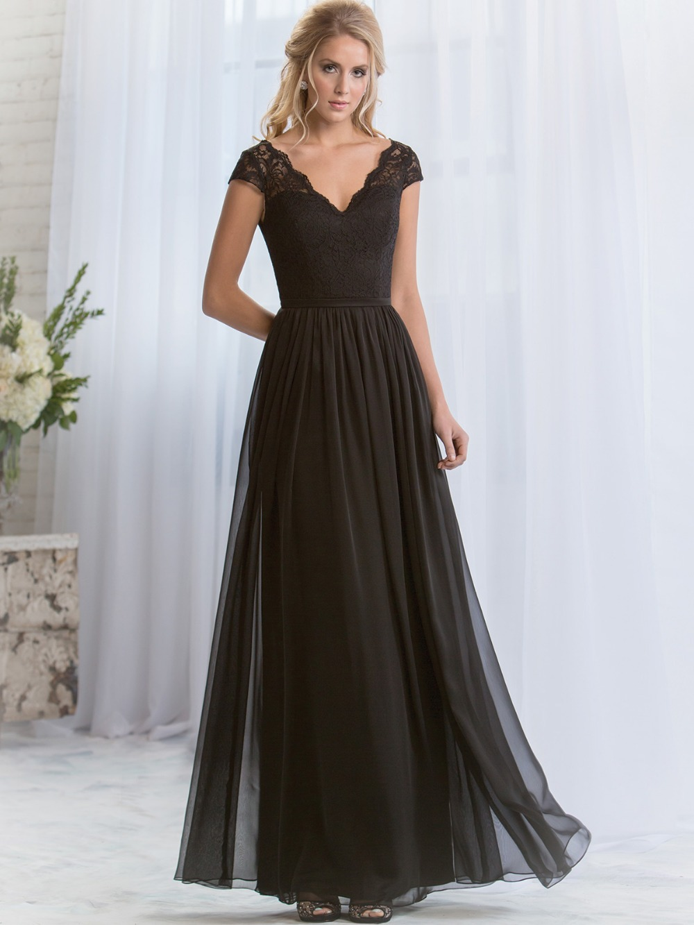 Online get cheap draped sleeve bridesmaid dress aliexpress wb8052 in stock real images v neck cap sleeve chiffon long bridesmaid dresses 2016 summer style ombrellifo Image collections