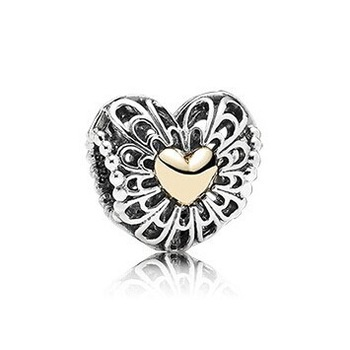 Wholesale 1PC 100% 925 Sterling Silver Openwork Heart Silver Charm With 14k Plated Hearts Fits pandora Bracelets &amp; Bangles<br><br>Aliexpress