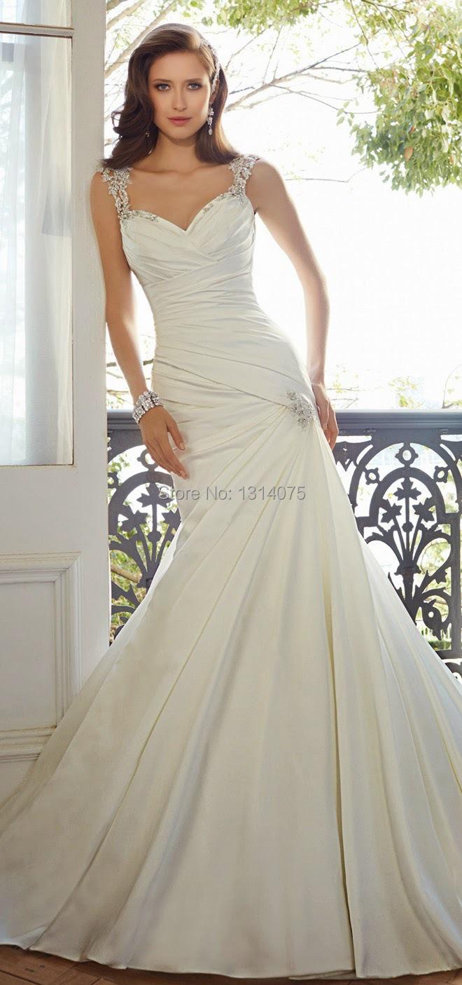 Simple elegant mermaid sweetheart cap sleeve backless for Backless satin wedding dress