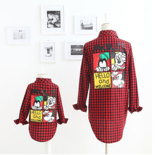 2016 New Fashion Family Look Girl And Mother Mickey Cartoon Plaid Shirt Family Matching Outfits Cotton Matching Family Shirts