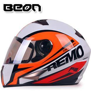 Free shipping genuine BEON B-500 off-road motorcycle helmet full helmet winter sports helmets fogging / White Orange(China (Mainland))