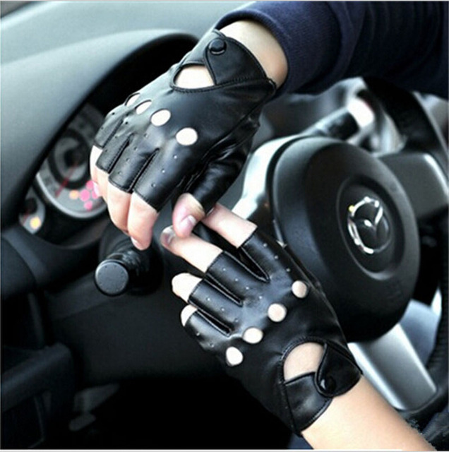 Hot!!! Car Fitness eldiven Driving PU Leather Fingerless Gloves For Women Or Men Black Leather Gloves Summer Style