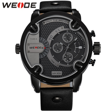 Buy GaGa Deal! WEIDE Watches Men Luxury Brand Leather Strap Quartz Dual Time Zone Analog Date Men Sport Military Oversize Wristwatch for $37.09 in AliExpress store