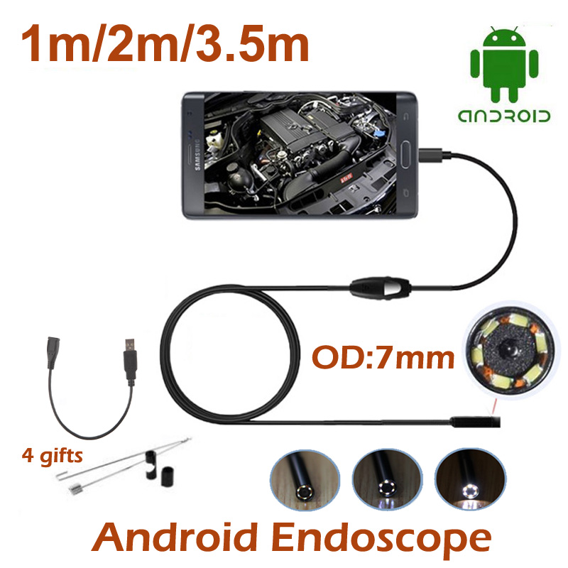 3.5M 2M 1M mini USB Android Endoscope Snake OTG USB Endoscope 7mm Lens 720P IP67 Waterproof Borescope Pipe Inspection Camera(China (Mainland))