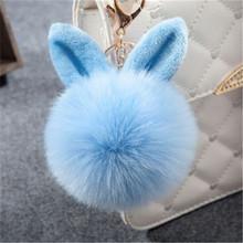 2019 Fur Pom Pom Chaveiros Falsa pele de Coelho bola pompom de fourrure fofo Saco Encantos clef chaveiro porte coelho keyring(China)