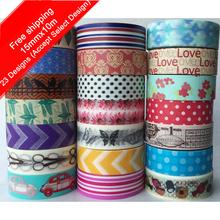 1 Roll(Accept Select Design) 15mm*10m Japanese Washi Decorative Adhesive tape multicolour sticker slanting dot stripe Paper Tape