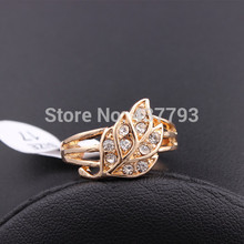 Wholesale New Jewelry 18K Gold Plated Unique Leaf Design Rhinestone Korean Finger Ring High Quality R402(China (Mainland))