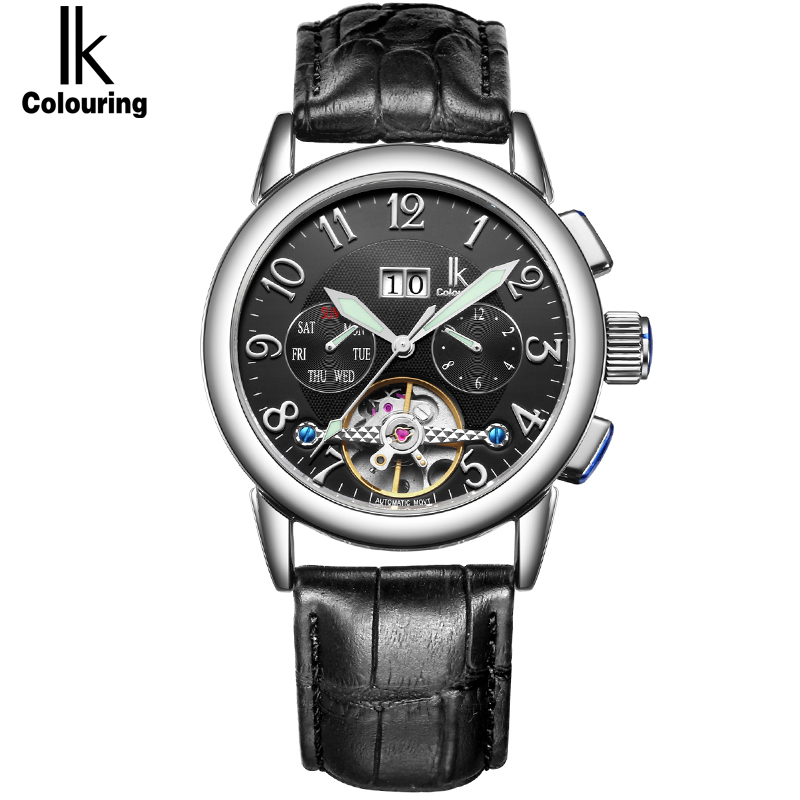 IK Waterproof Sport Automatic Mechanical Watches Men Luxury Brand Casual Genuine Leather Skeleton Watch Clock relogios masculino(Hong Kong)