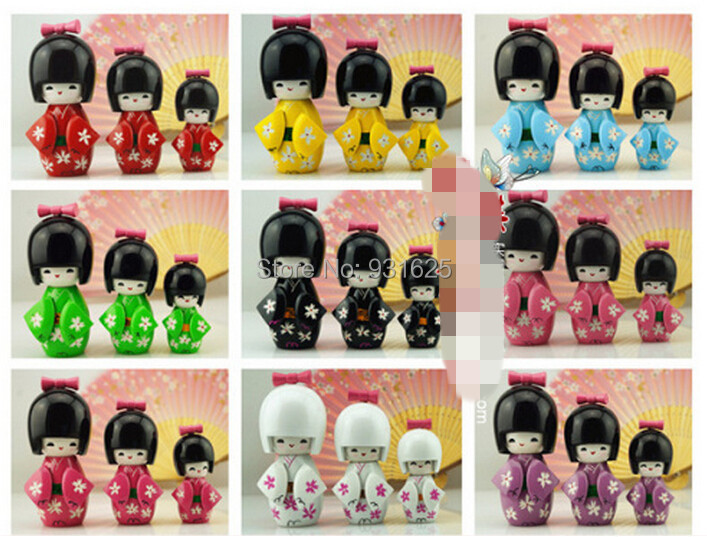 Japanese Toys And Gifts : Pcs set oriental japanese wooden kokeshi dolls cute girl